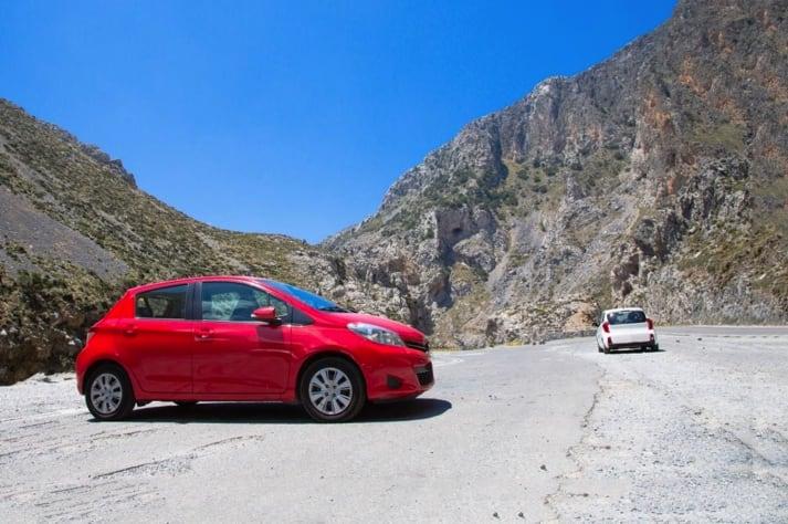 Red car in Crete's Mountain