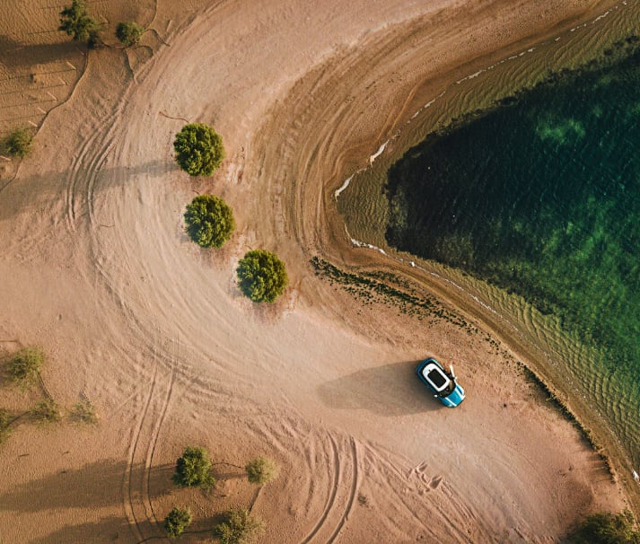 Car rental in Crete - aerial view with a drone
